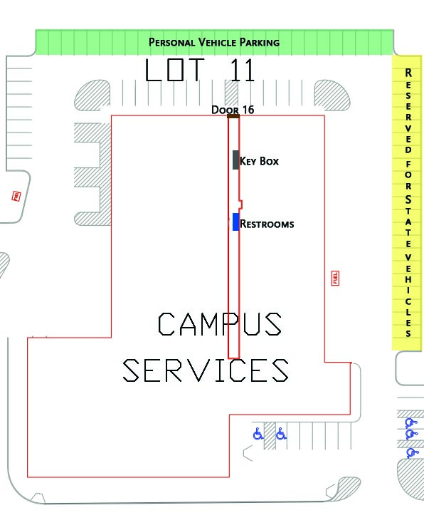 Campus Services Building and parking lot 11 map