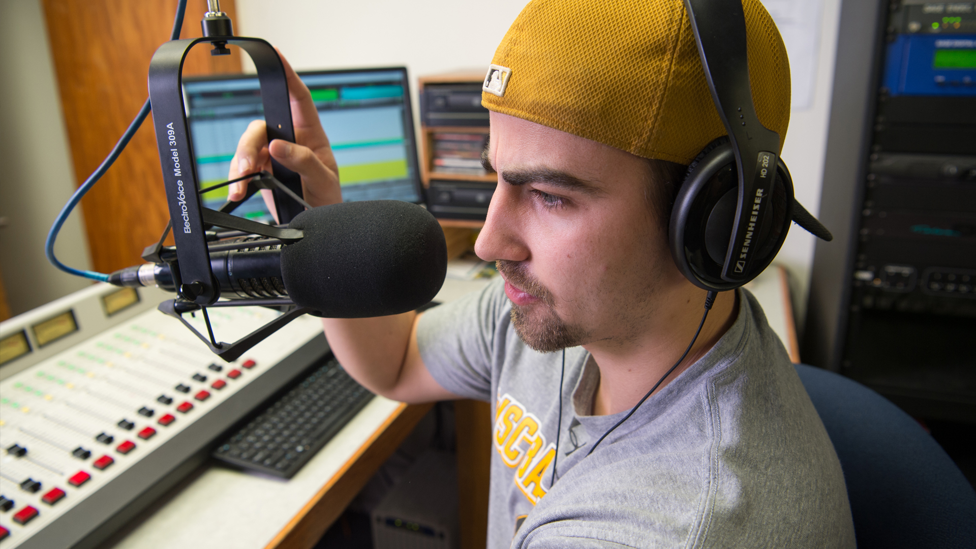 A student on-air for KWSC-FM radio