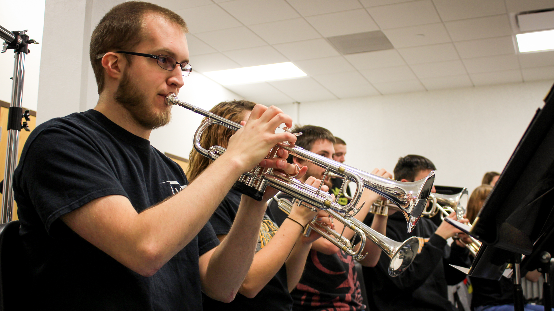 WSC Wind Ensemble practices in band room