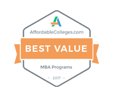 Best Value Master's in Business Administration Degree, 2017 - Affordable Colleges. Most Affordable Online MBA Degree Award.