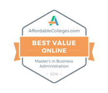 Best Value Online MBA Degree, 2018 - AffordableColleges.com. Most Affordable Online Master's in Business Administration Degree Award.