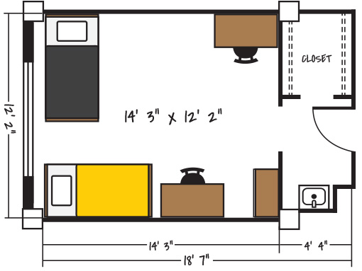 Sample Room Floorplan - Anderson Hall, Berry Hall, Morey Hall