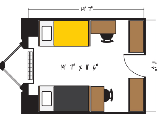 Bowen Hall - Double Occupancy Floorplan
