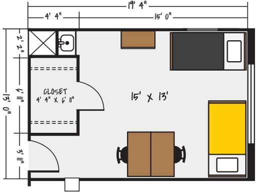 Sample Floorplan - Neihardt Hall, Pile Hall, Terrace Hall
