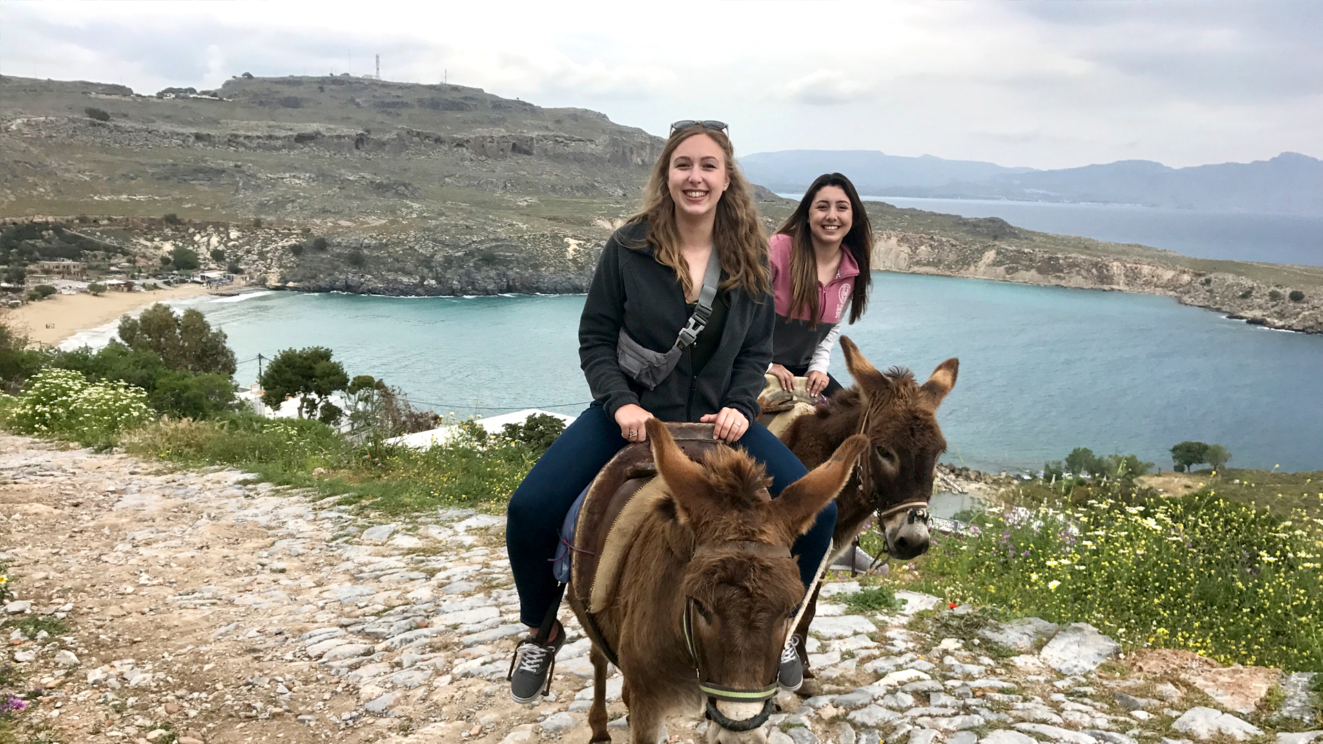 Two students on a Study Abroad trip in Greece.