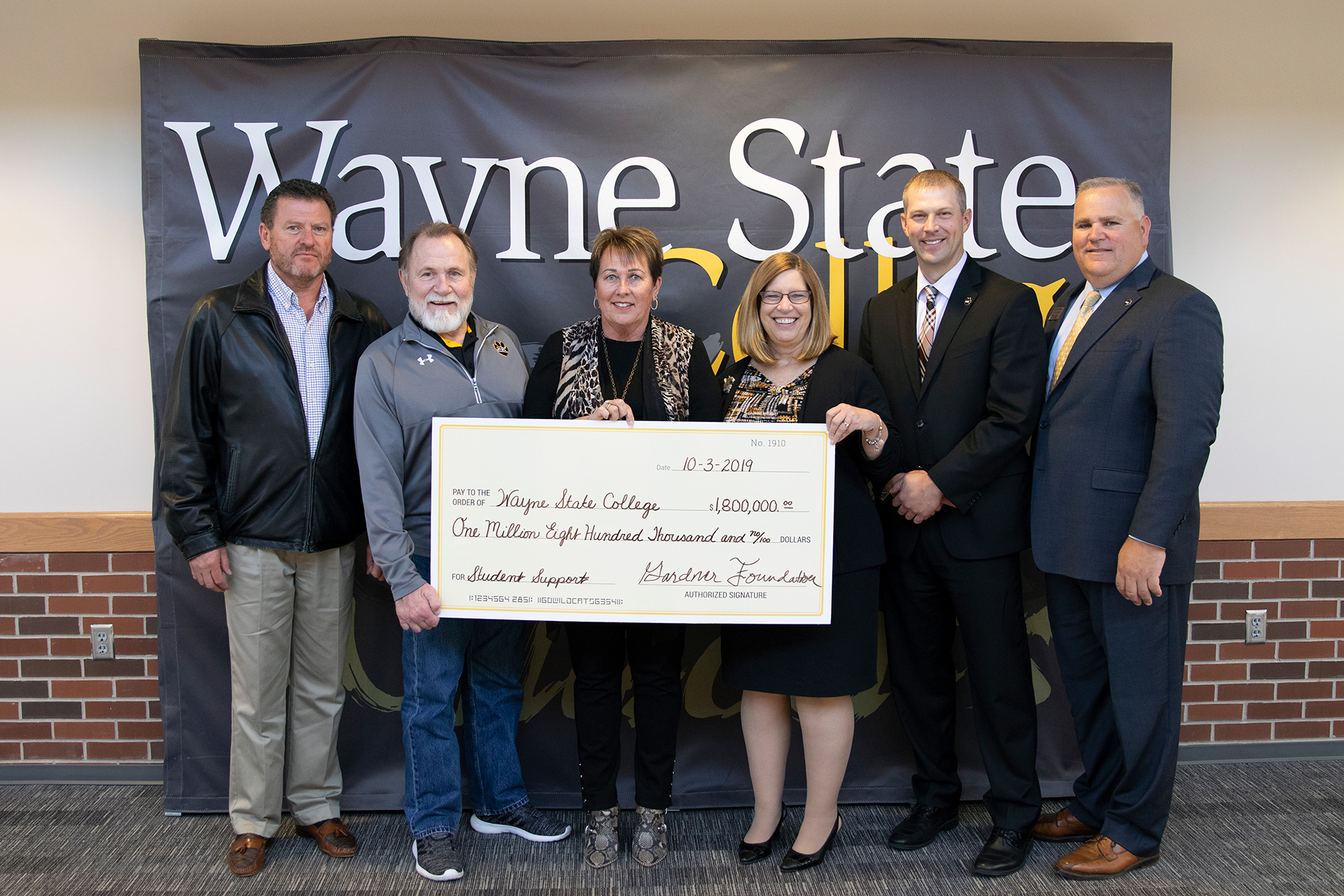 Gardner Foundation presents $1.8 million to Wayne State College
