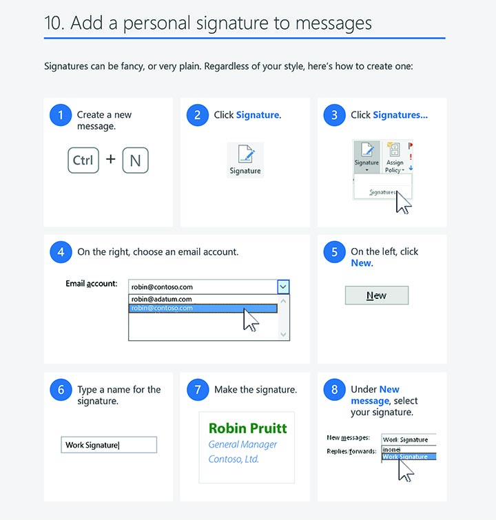 Outlook 2016 windows tips tricks personal signature
