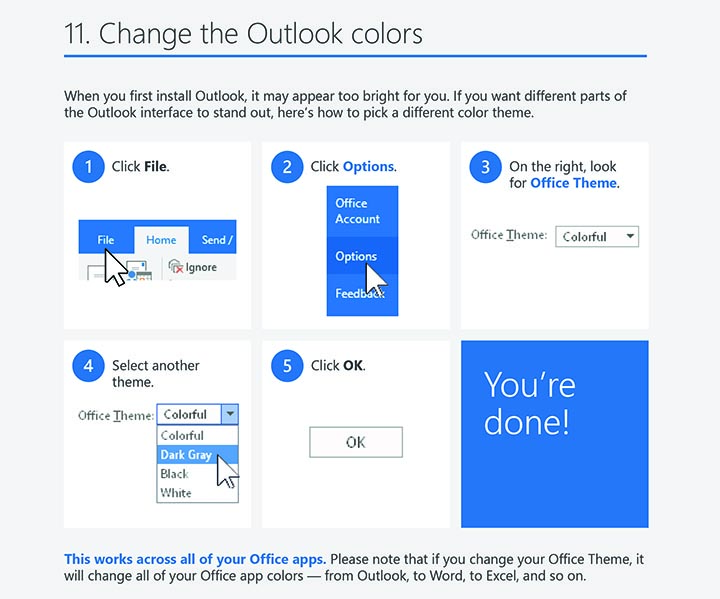 Outlook 2016 windows tips tricks outlook colors