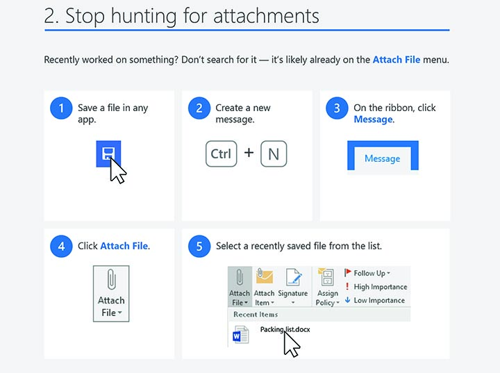 Outlook 2016 windows tips tricks attachments