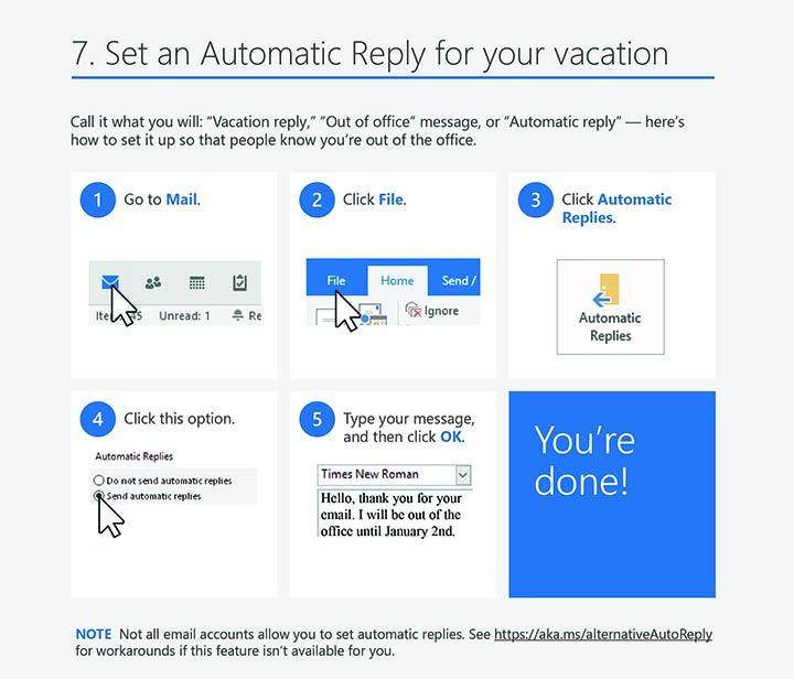 Outlook 2016 windows tips tricks vacation reply