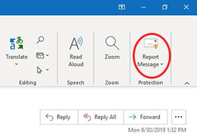 Outlook report email button