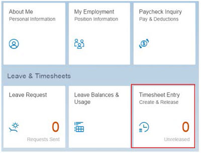Select timesheet entry - create and release