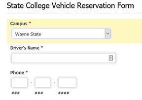 State college vehicle reservation form