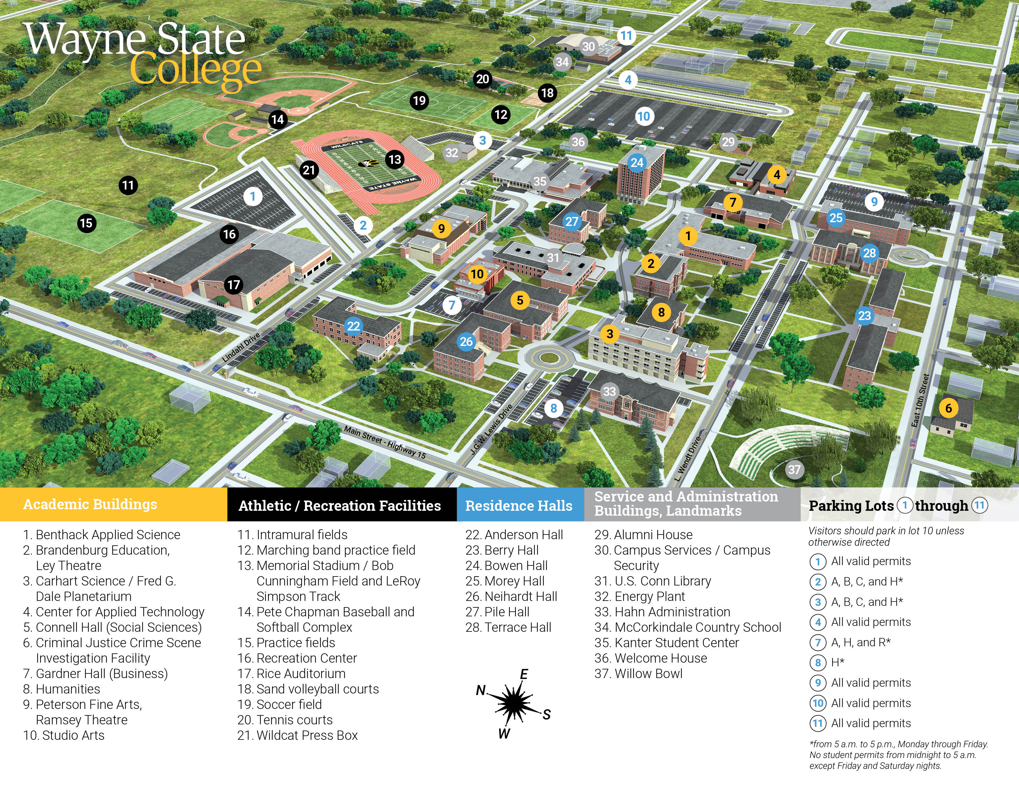 Wayne State College Campus Map, 2019