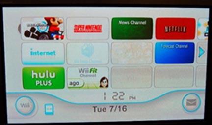 Wii home screen