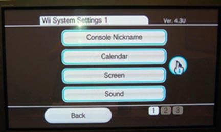 Wii settings menu