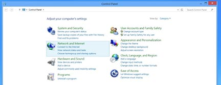 Windows8 network and internet