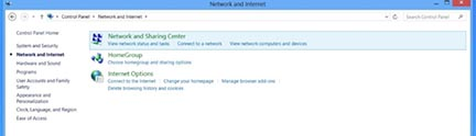 Windows8 network and sharing center