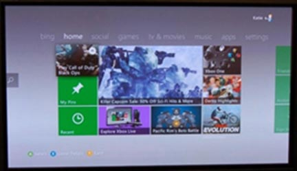 Xboxone home screen