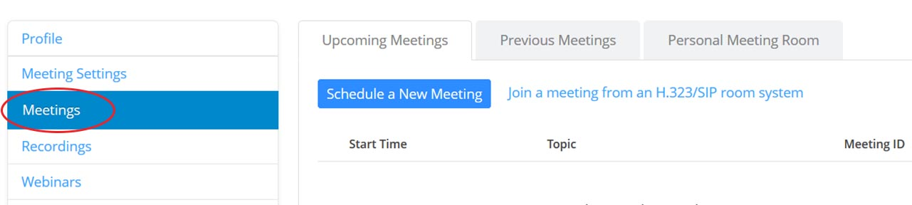 Zoom meetings menu