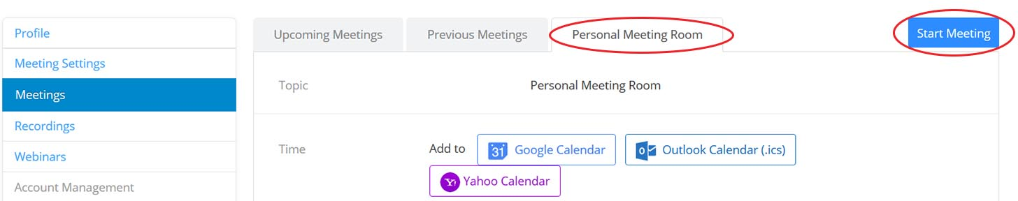 Zoom personal meeting room menu click start meeting