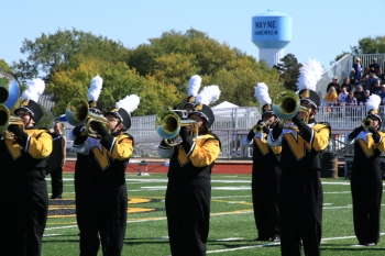 The Wildcat Marching Band performs at the Homecoming football game.
