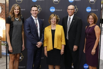 Jennifer Hefner '11 (volleyball), Dustin Jones '07 (baseball), James Lindau (contributor), and Kathy Hinrichs '97 (track and cross country) were inducted into the Wayne State Hall of Fame.