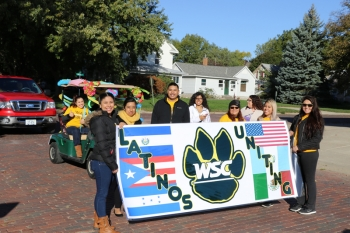 "WSC student organization ""Latinos Uniting"" participated in the Homecoming parade."