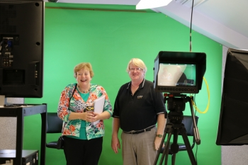 Alumni visited the television studio during the Mass Communication Affinity Reunion.