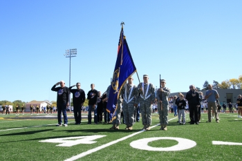 The 189th Transportation Company presented the colors with WSC military alumni at the Homecoming football game.