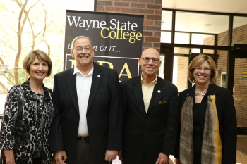 Wayne State College presidents Dr. Sheila Stearns, Curt Frye, Dr. Don Mash, and Dr. Marysz Rames reunited at Homecoming.