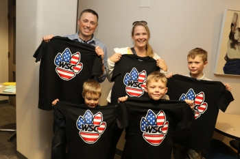 Major Ben West '97 and his family attended the WSC Military Reunion at Homecoming, sporting patriotic WSC shirts.