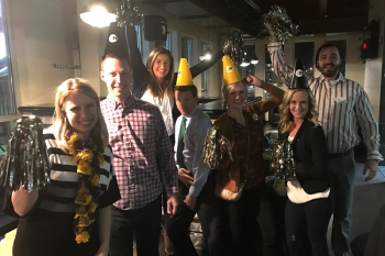 The Wayne State College GOLD Club hosted a Lincoln GOLD Alumni Event on Friday, Feb. 3, 2017 at the Rule G Night Club in Lincoln, Neb. Pictured (left to right) are: Laura Robinett, Ryan Becker '07, Mattie Scheeter '09, Justin Davis '07, Allie Davis '08, A