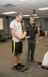Collecting body weight information before a fitness test
