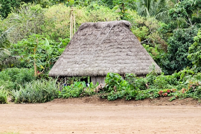 An Achuar tribe hut in the rainforest village of Sharamensta, Ecuador