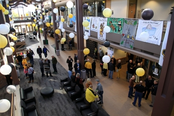 The Kanter Student Center Atrium decorated in black and gold
