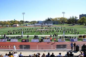 The WSC Marching Band performs on the football field.