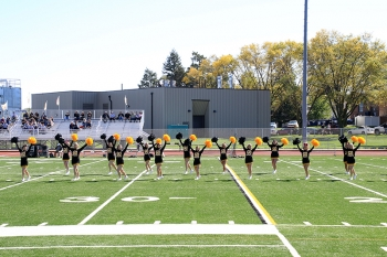 The WSC Cheerleading Squad performs on the field.