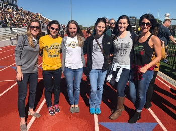 The 2006 Women's Cross Country Team was recognized during halftime of the football game for being inducted into the Hall of Fame.