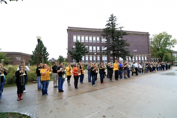 The Wildcat Marching Band performed at the Conn Library Ribbon Cutting and Grand Opening.