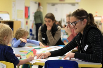 Students annually work with Head Start in Wayne to develop early learning activities for children.