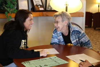 TRiO students annually visit senior citizens at Brookdale to work on communication skills and community awareness.