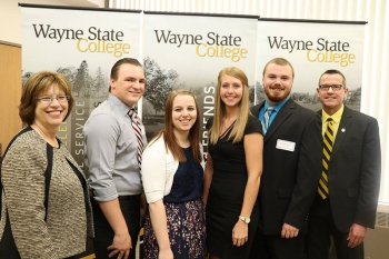 James Branstetter won the 2017 Ron Holt Civic Engagement Award. Pictured from left to right are: President Marysz Rames; Branstetter; finalists Allison Backer, Lexi Bartels, and Patrick Meuret; and Ron Holt.